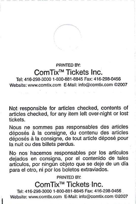 coat check tickets disclaimer