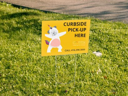 curbside pick-up lawn sign