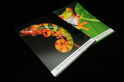 custom folder with UV and soft touch lamination