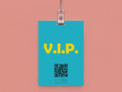 VIP Pass laminated with slot punch for lanyard