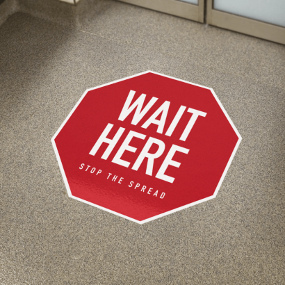 physical distancing floor graphics